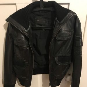 Black Leather Jacket - MANGO xsmall